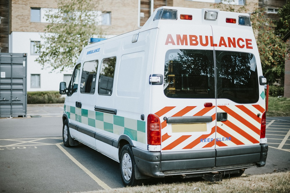 British ambulance parked in a parking lot